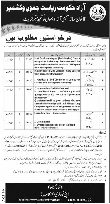 Jobs in Legislative Qanoon Saaz Assembly in AJK Azad Jammu Kashmir