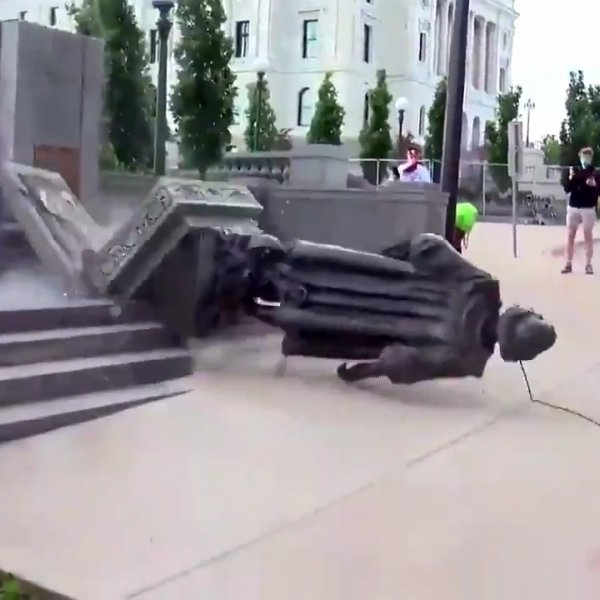 In the USA, protesters destroyed the statue of Christopher Columbus