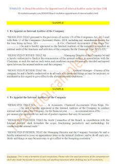 draft board resolution for appointment of internal auditor as per companies act 2013