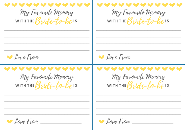 Free printable hen party memory card - in yellow