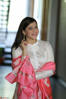 Mannara Chopra in Silky White Salwar Suit with Pink Chunni Latest Exclusive Pics March 2017 ~  052.JPG