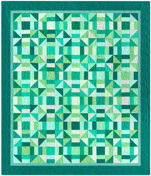 Rhapsody in Green Quilt designed by Darlene Zimmerman of Robert Kaufman Fabrics, featuring KONA Cotton Solids
