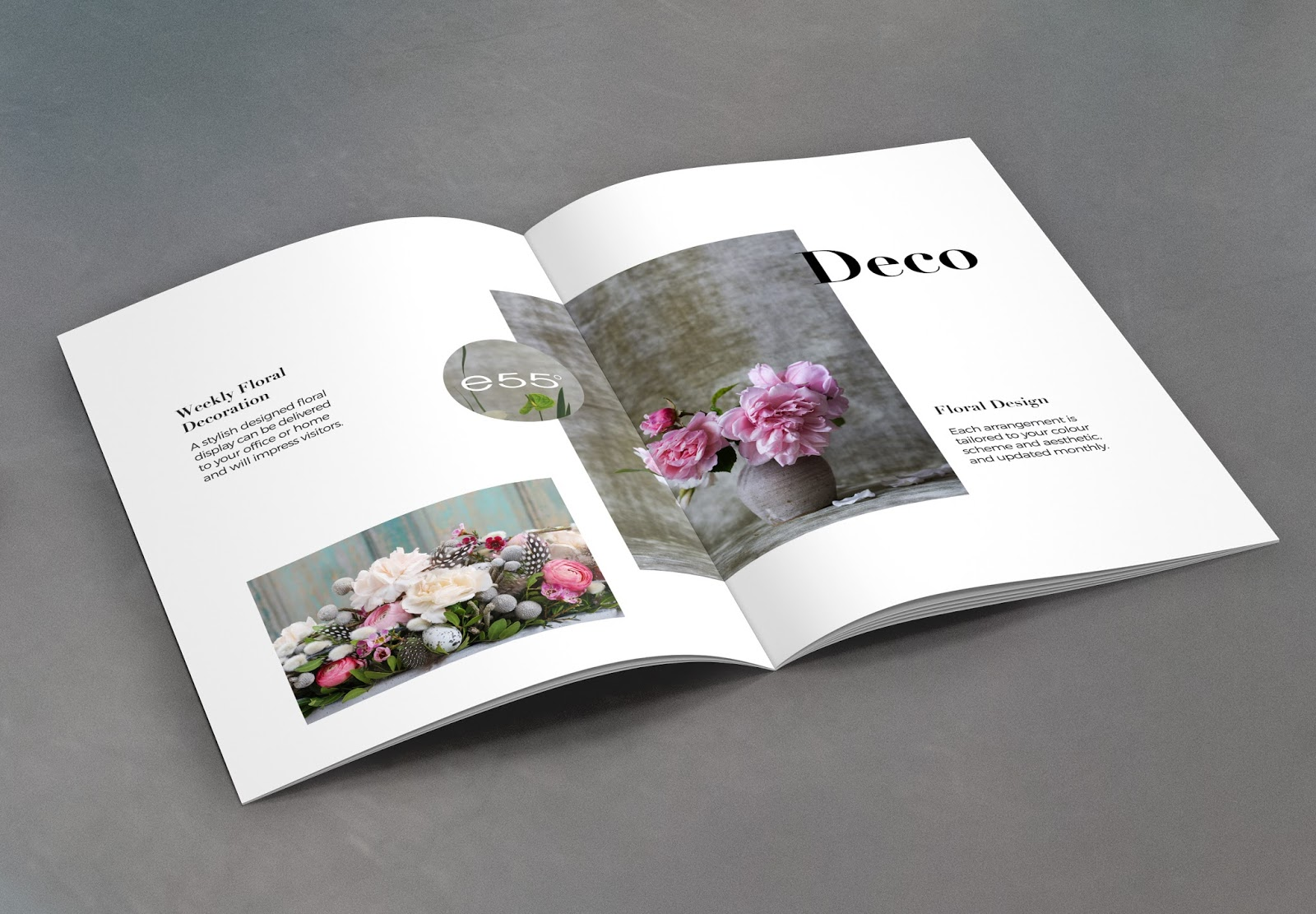 Floral arrangements, e55 degrees, Floral atelier design, Corporate brochure