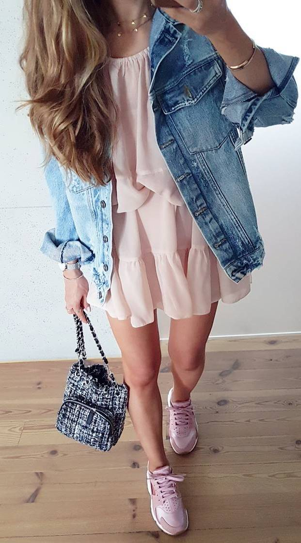 stylish ootd: jacket + blush dress