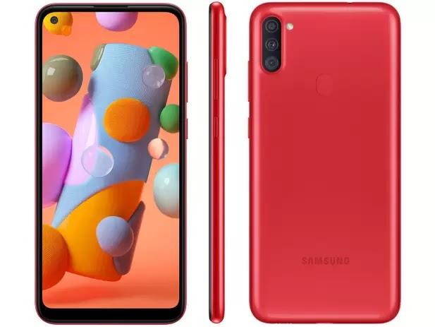 "Smartphone Samsung Galaxy A11 64GB Vermelho 4G - Octa-Core 3GB RAM 6,4"" Câm. Tripla + Selfie 8MP"