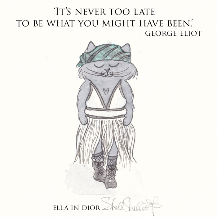 Ella the Catwalk Kitty in Dior - Cat Wisdom art quote illustration © Shell Sherree all rights reserved