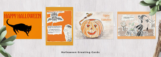 Halloween greeting card display.