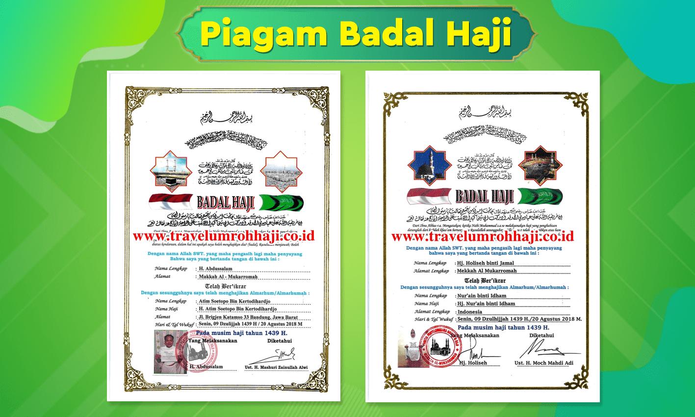 Sertifikat / Piagam Badal Haji