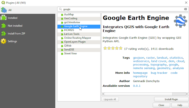 Google Earth Engine QGIS Plugin Installation