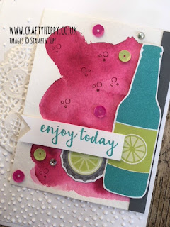 Create this gorgeous card using the Bubbles & Fizz Designer Series Paper from Stampin' Up! Enter our Linky Party 'Crafty Hippy Colour Challenge' and have fun creating a masterpiece with the Colour Challenge chosen colours.