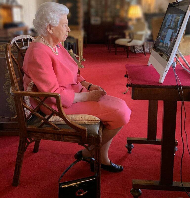 Queen joined a video call with the four health officials leading the deployment of the Covid-19 vaccine. Queen wore a pink dress