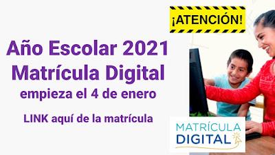 Matrícula Virtual 2021 desde el 4 al 20 de enero Ingreso Año Escolar 2021