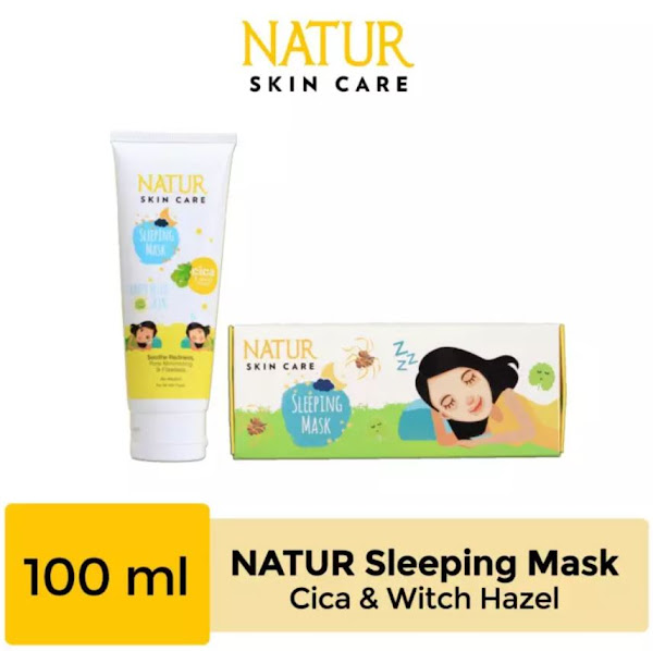 Natur Sleeping Mask Cica & Witch Hazel Menghilangkan Jerawat dan Luka Jerawatan