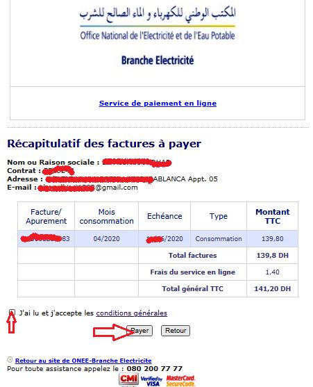 verification et paiement facture one