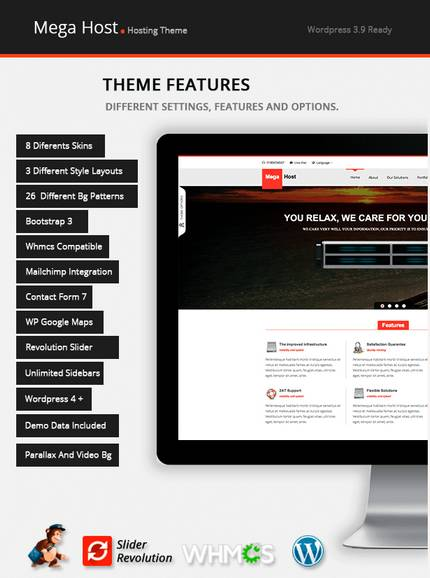 Megahost software And WHMCS Wordpress hosting Theme