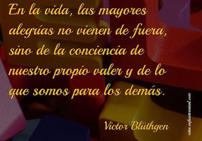 En la vida, las mayores alegrías no vienen de fuera, sino de la conciencia de nuestro propio valer y de lo que somos para los demás.   Victor Blüthgen