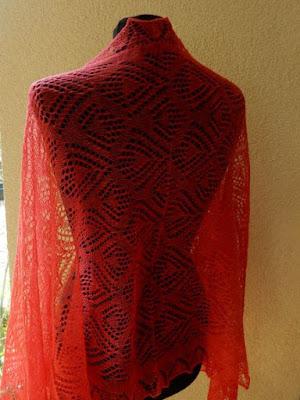 Rode sjaals, handgebreide sjaals,rode wollensjaal.