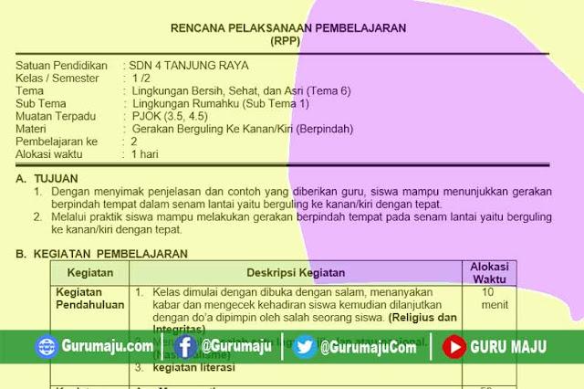 RPP 1 Lembar PJOK SD Kelas 1 Tema 6 Revisi 2020