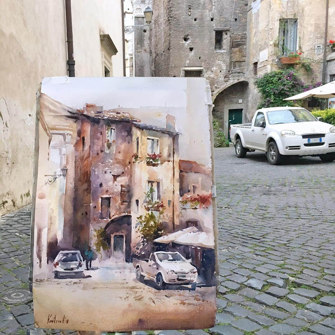 13-Rome-Anastasia-Kústova-Architectural-Watercolor-Paintings-En-Plein-Air-www-designstack-co