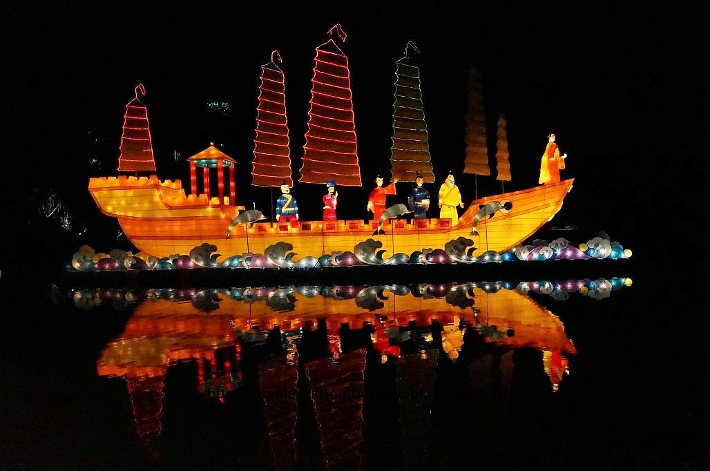 Lantern display of Zhenghe's voyages to the Western seas on his Treasure Ship, Gardens by the Bay, Singapore, for the Mid-Autumn Festival 2014