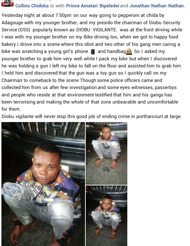 Notorious Thief Apprehended In Rivers After Snatching Phone And Handbag With A Toy Gun #Arewapublisize