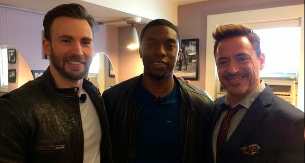 Chris Evans, Robert Downey Jr y Chadwick Bozeman