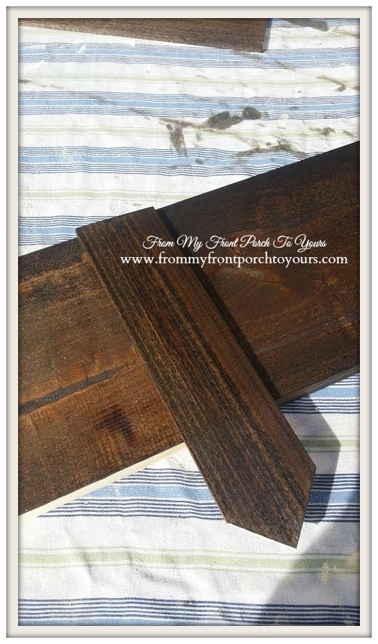Dark Walnut stained strap pieces for wood beams at From My Front Porch To Yours.