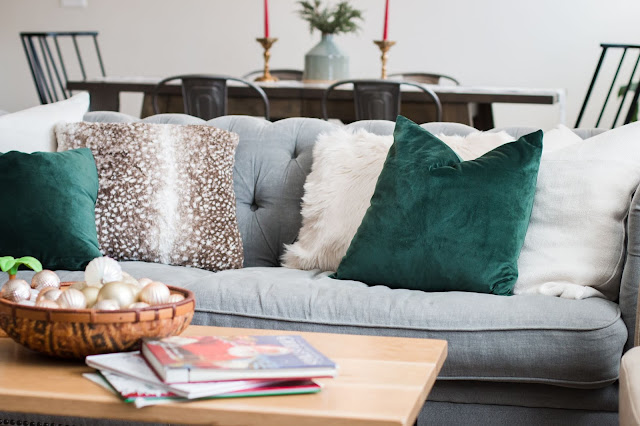 use velvet and fur pillows to decorate for Christmas