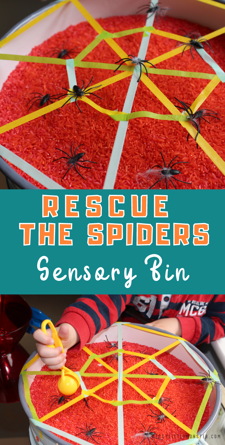 Spider sensory bin for toddlers and preschoolers. Easy fine motor spider activity.