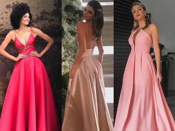 Vestido longo rose, rosa pink e azul marinho!