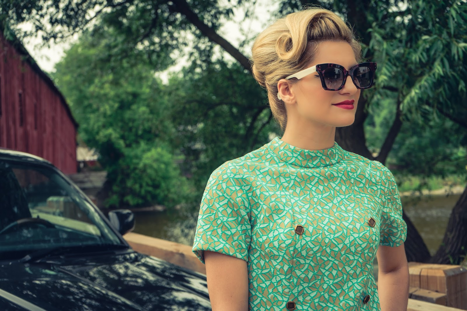 Bijuleni - Pin Up Updo hair, Vintage Retro Dress and Jean Philippe Joly Sunglasses