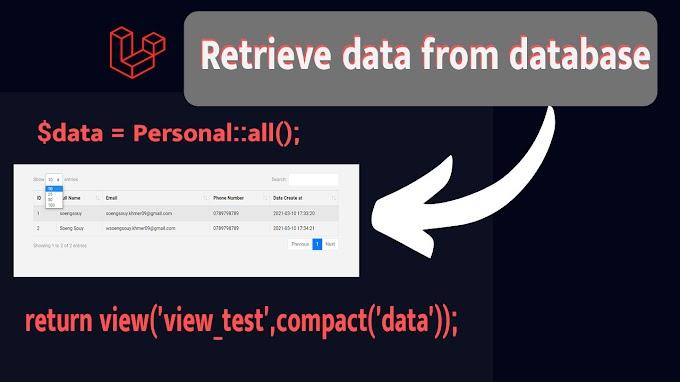Retrieve data from database with data table using Laravel