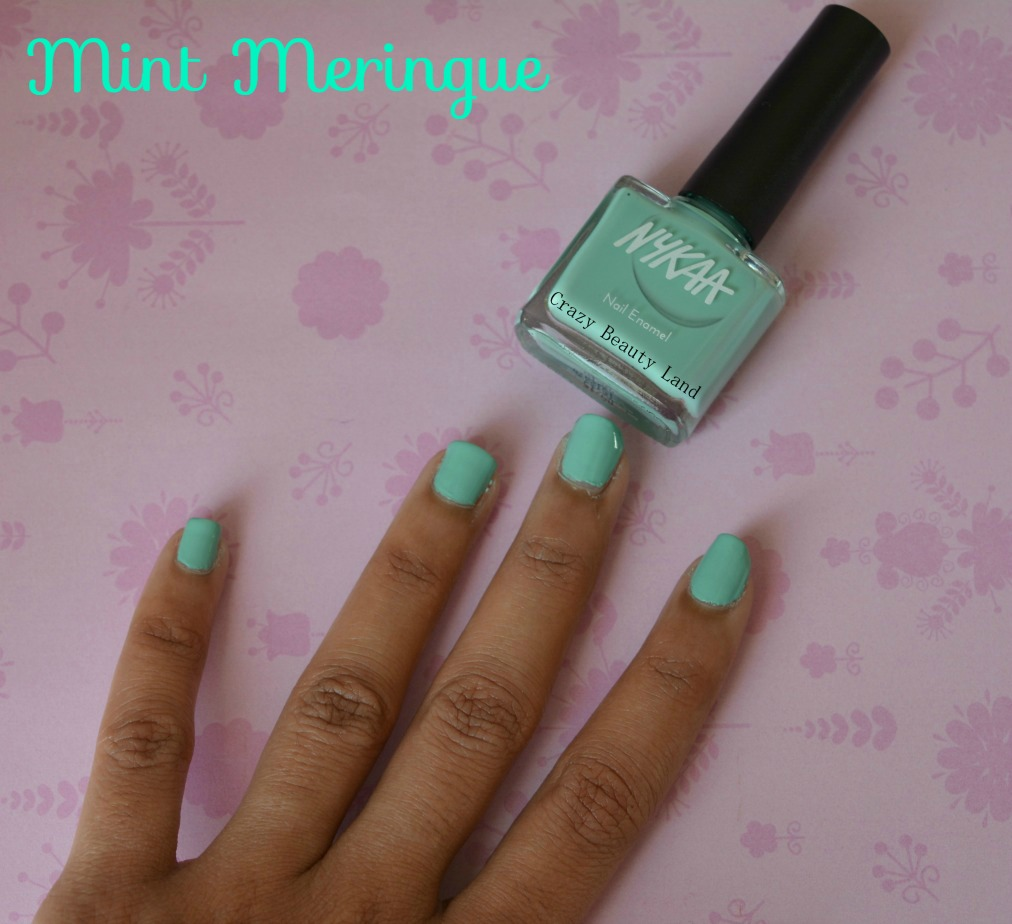 Nykaa Pastel Nail Enamels Hasta La Pista Mint Meringue Review And Swatches Crazy Beauty Land