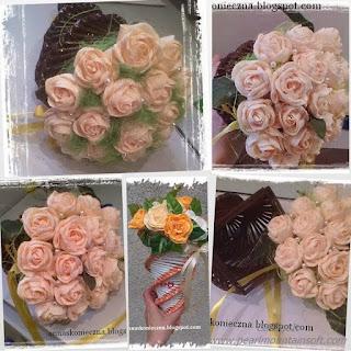 rożki, papierowa wiklina, róże z krepy