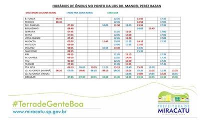 Horários dos ônibus municipais de Miracatu