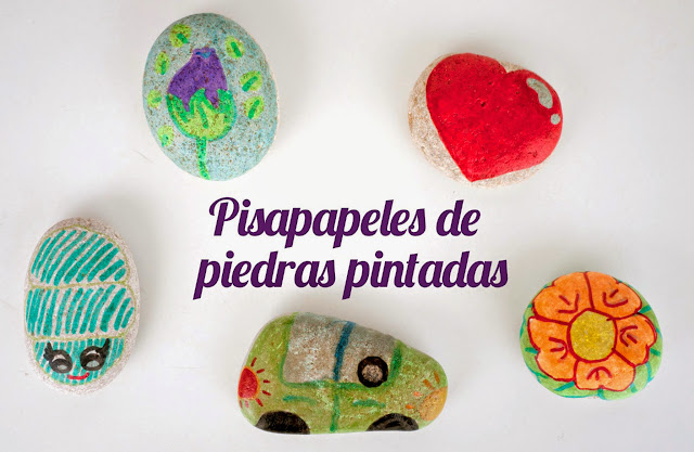 Pisapapeles hechos con piedras pintadas