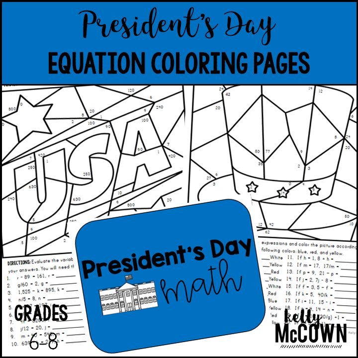 Presidents Day Math Middle Activities by KM