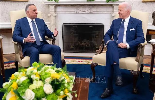 US President Joe Biden (right) and Iraqi Prime Minister Mustafa al-Kadhimi during a meeting at the White House, Washington, DC, July 26, 2021. Photo: AFP