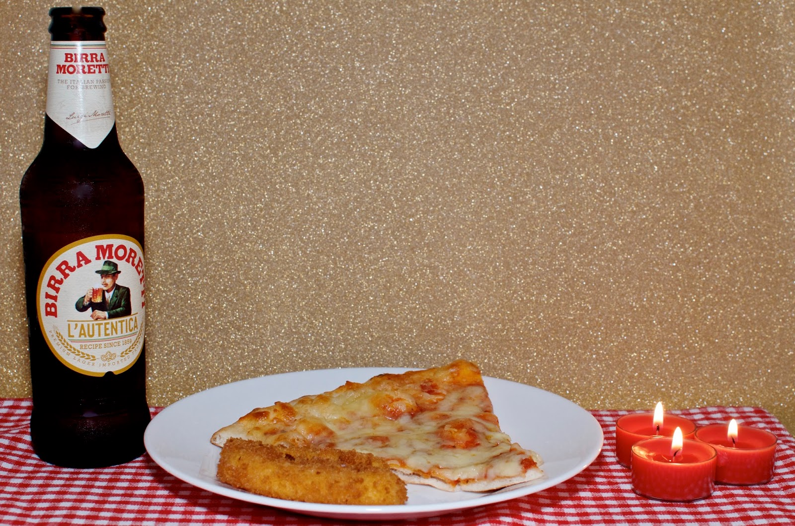 Beer, pizza and candles