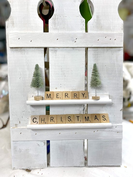 Repurposed Scrabble Christmas Decoration with Pickets