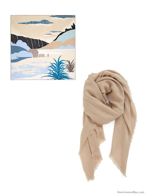 two scarves in black, sand and teal