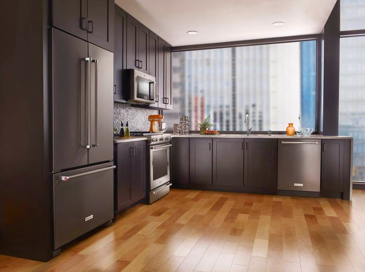 Modern Kitchen Appliances Shown In Kitchen Fridge Stove Dishwasher