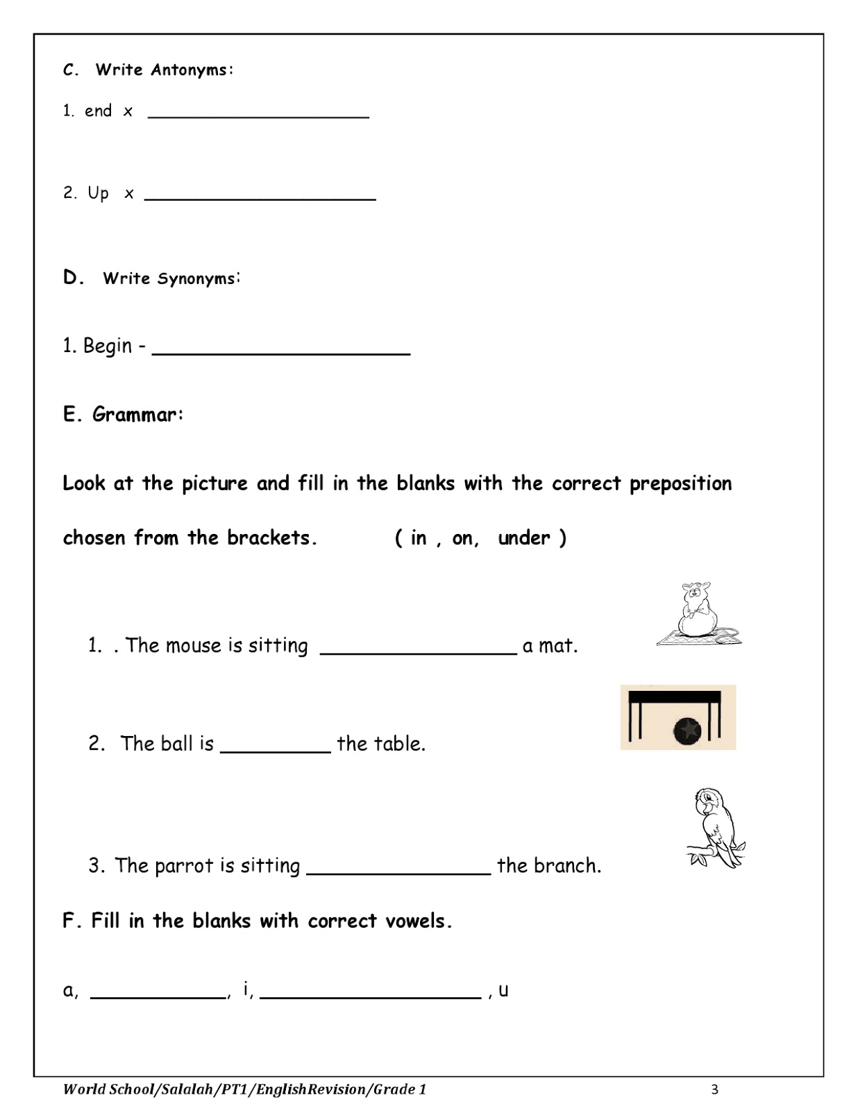 WORLD SCHOOL OMAN: Revision Worksheet for Grade 1 as on 03-10-2019 [ 1600 x 1236 Pixel ]