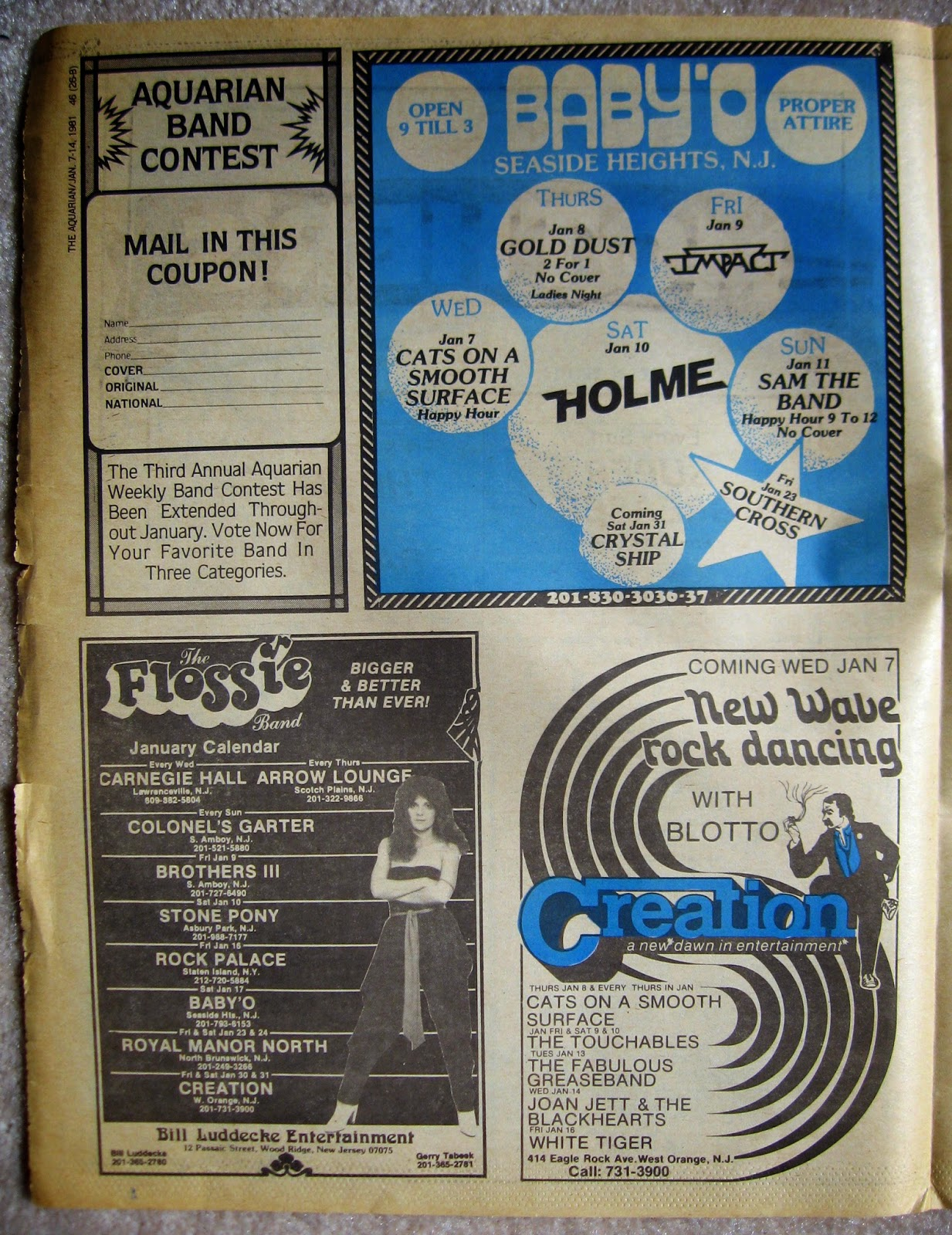Baby'O - Creation band line ups - The Flossie Band club line up January 1981