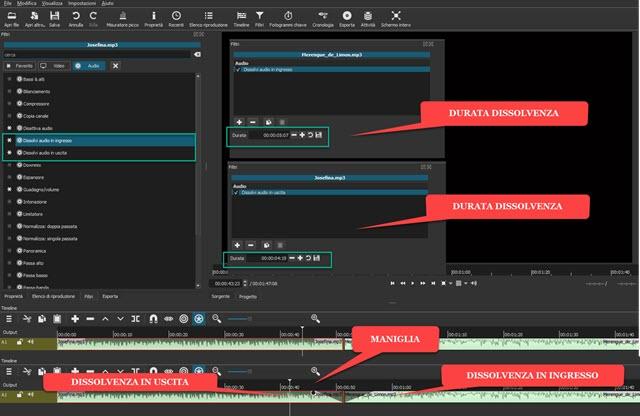 aggiungere dissolvenza in entrata e uscita agli audio con shotcut