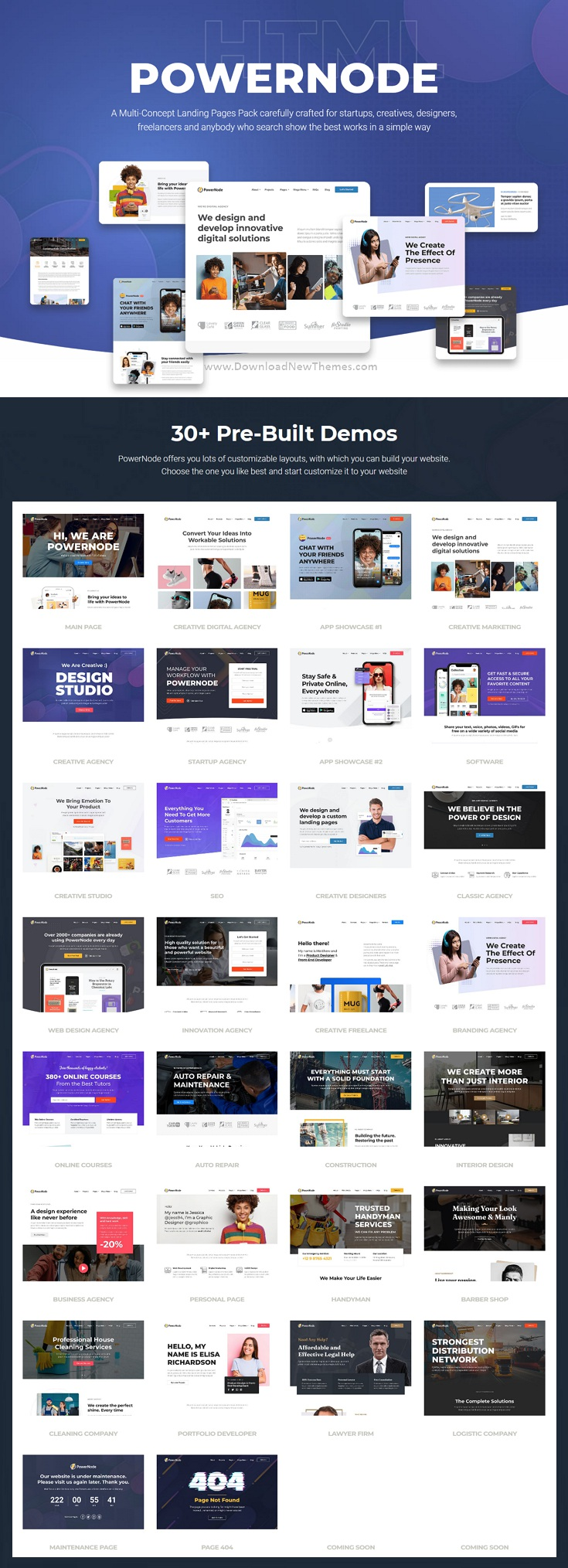 Multi-Concept Landing Pages Bootstrap Template