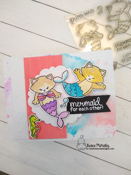 Mermaid for each other by Diane features Purr-maid and Tumbling Hearts by Newton's Nook Designs; #newtonsnook