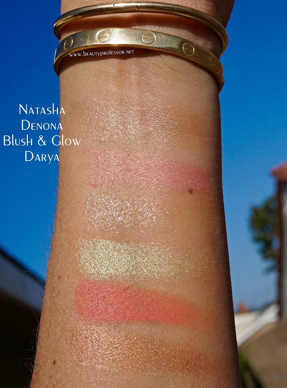 Natasha denona blush and glow darya swatches