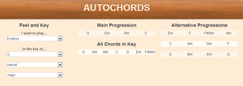 Chord progression generator Autochords com | kev-on-music