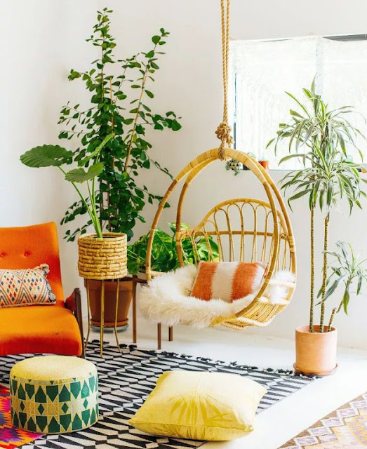 Natural bohemian living rooms With Plant container